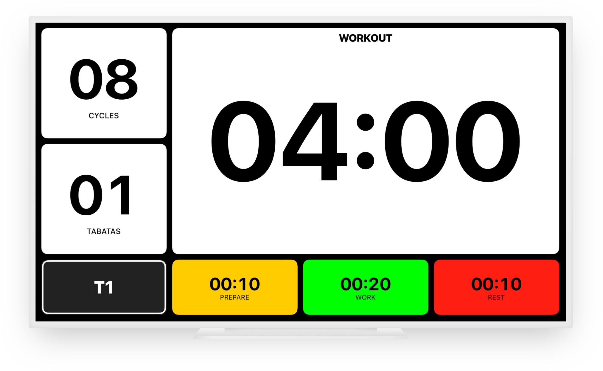 Use Tabata Pro on an external display.